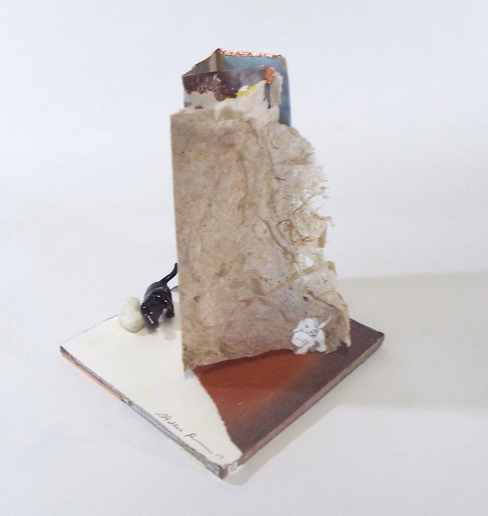 "S. Portico Bowman, ""Elsewhere,"" Ceramic, Handmade Paper, Found Item, Copper, Stone, Mixed Media, 2017, $700, Pittsburg, KS"