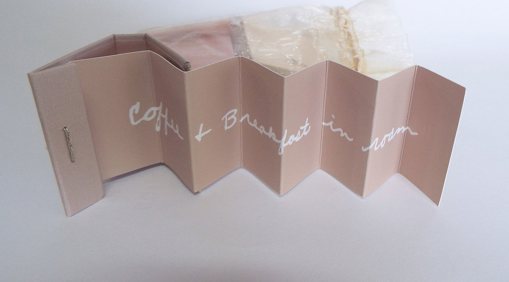 "Sara Brooks, ""The Honeymoon,"" Accordion books--digital prints, inkjet fabric, gold foil organza bag, 2013, Asheville, NC"
