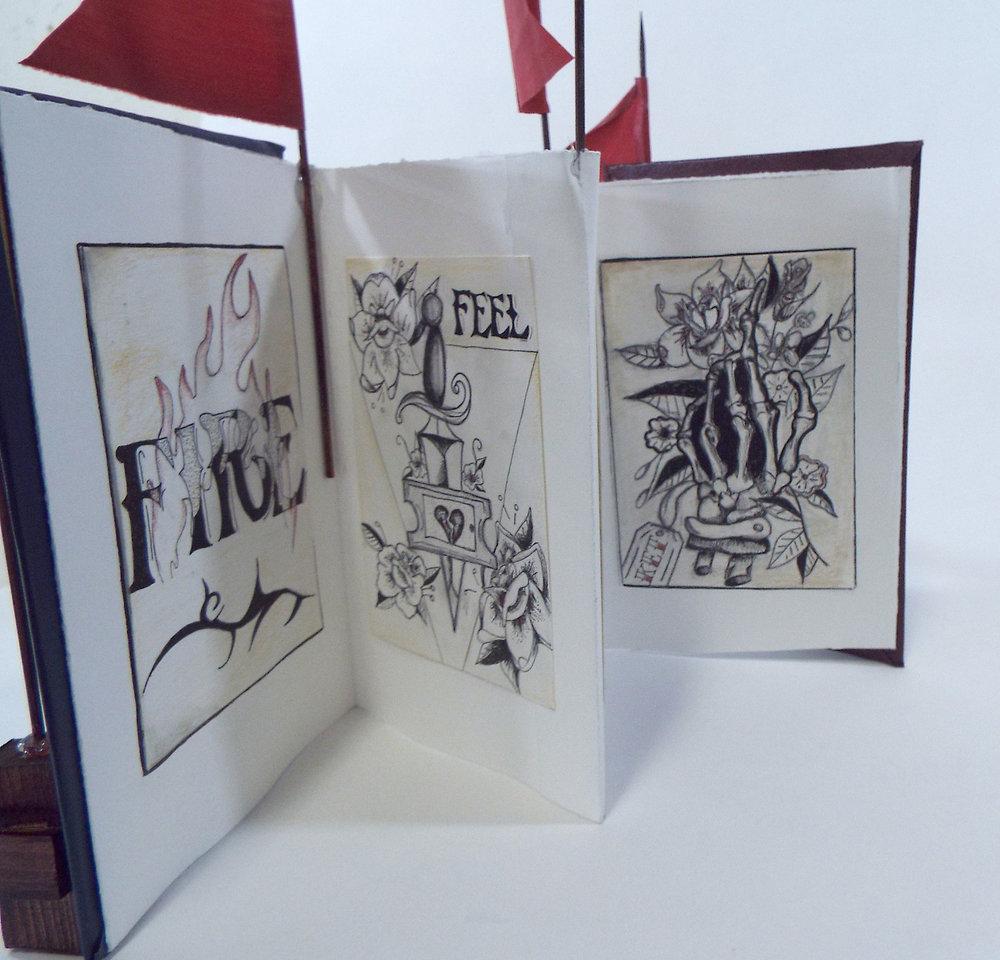 Artist: Palou Aneena Craig Title: Admit One Eternity Media: Ink, Graphite, Wood, Fabric Date: 2017 Price: NFS Location: Dearborn Hts, MI