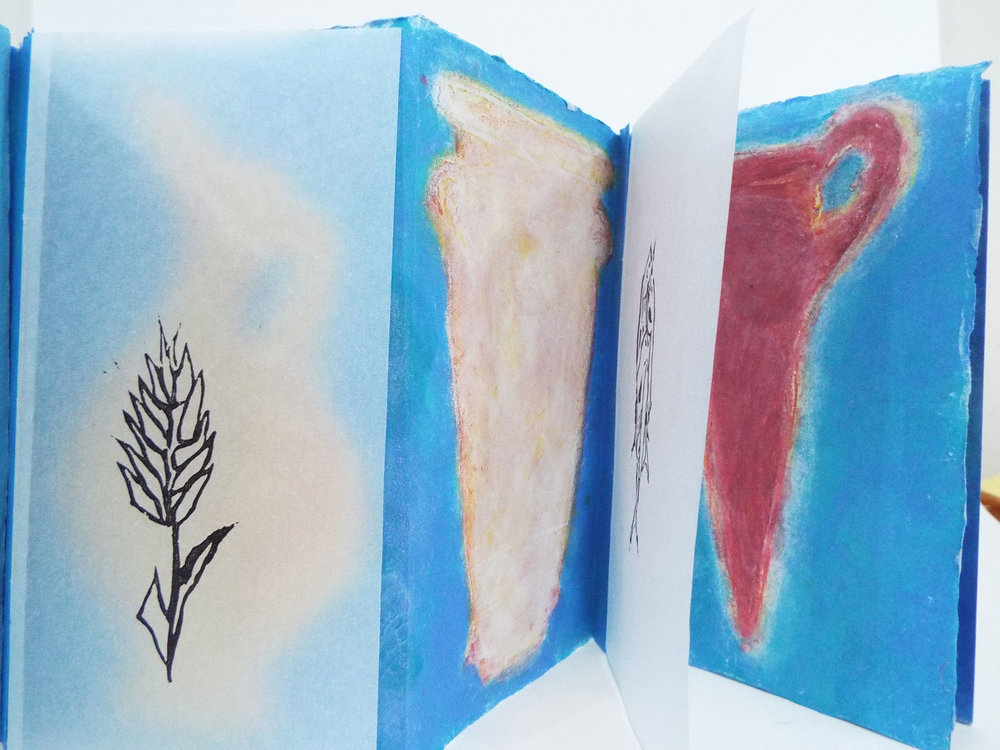 Artist: Donna Groot Title: Grecian Vessels Media: Handmade Paper, Pulp Painting and linocut Date: 2009 Price: $500 Location: Grand Rapids, MI