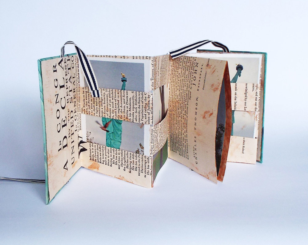 "Claire Marcus, ""The Course of Human Events/Golden Door Series,"" Declaration of Independence Facsimilie folded and cut as Jacob's Ladder Accordion, Digital photography, collograph printing, 2014, $350, Bethlehem, PA"