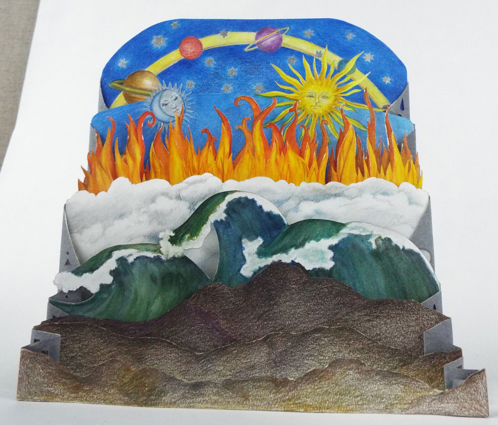 "Carol Norby, ""While the Alchemist Slept,"" Handmade Paper, Cardstock, Water Soluble Color pencil, Water color, Aluminum gilding alloy, Pisgah Forest, NC"