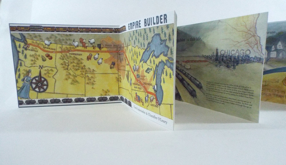 "Candler O'Leary and Carol Inderieden, ""Empire Builder,"" Digitally-printed accordion book with hand-bound slipcase, 2015 $600, Tacoma, WA"