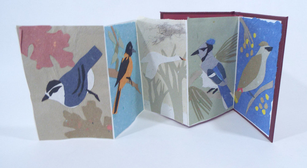 "Katie Platte, ""Birds,"" Handmade Paper Collage, 2017, $75, Kalamazoo MI"
