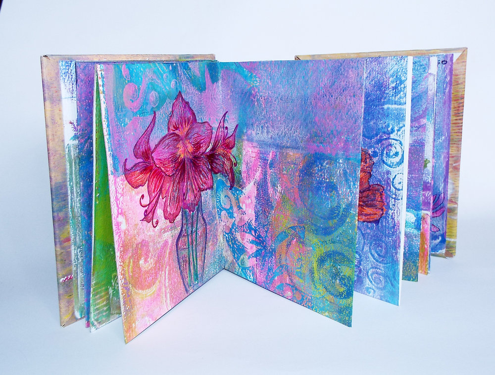 """Diana Russo, """"Essential Qualities,"""" Gelli-Print and Gel Pen, 2016, $50, Lawrenceville,NJ"""