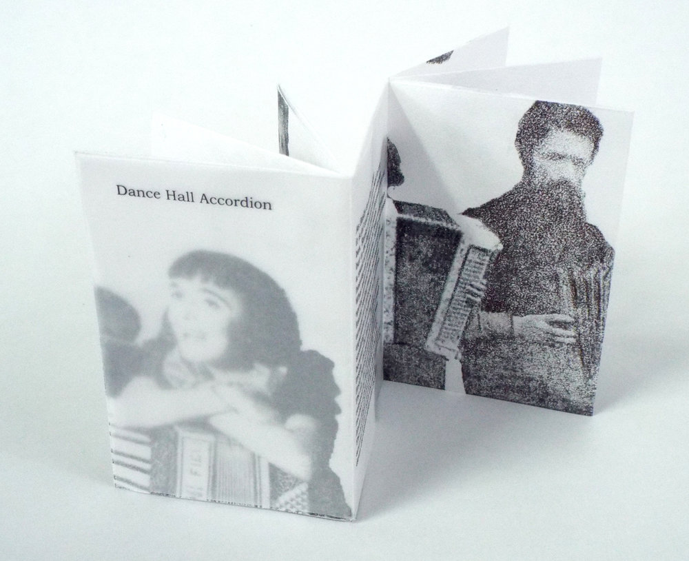 "Mary Whalen, Poem: Dave Marlatt, ""Dance Hall Accordion,"" Photo Transfers, 2017, Richland, MI"