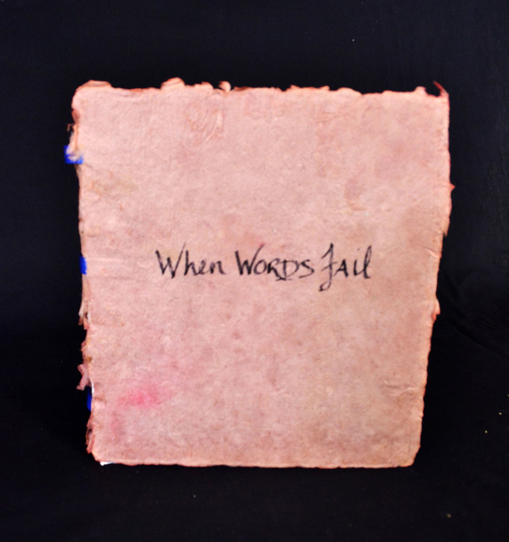 "Sissy Buck, ""When Words Fail,"" monotype, sewing, collage, handmade paper, 2013"