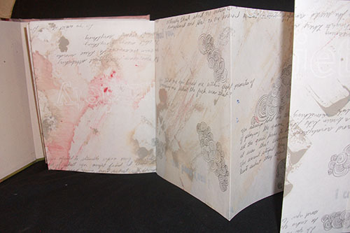 "Crystal Shaulis, ""I Can't Read You,"" Accordion Book (oil paint, graphite, Ink), 2014"