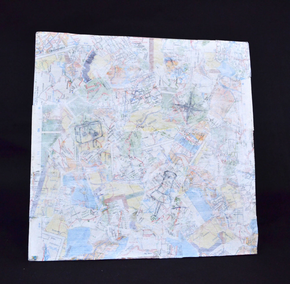 "Johanna Timpson, ""Are We There Yet?,"" Map paper, paper clips, PVA Glue, 2015"