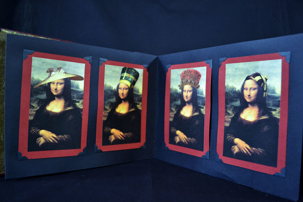 "Virginia Guzior, ""A Hat for Mona,"" Bookcloth, Paper, Digital Prints, 2000"
