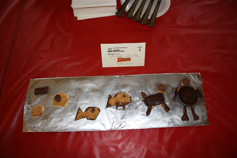 """Origin of the (Reese's) Species,"" by Charles Darwin, created by Katie Platte, Edible Book 2012."