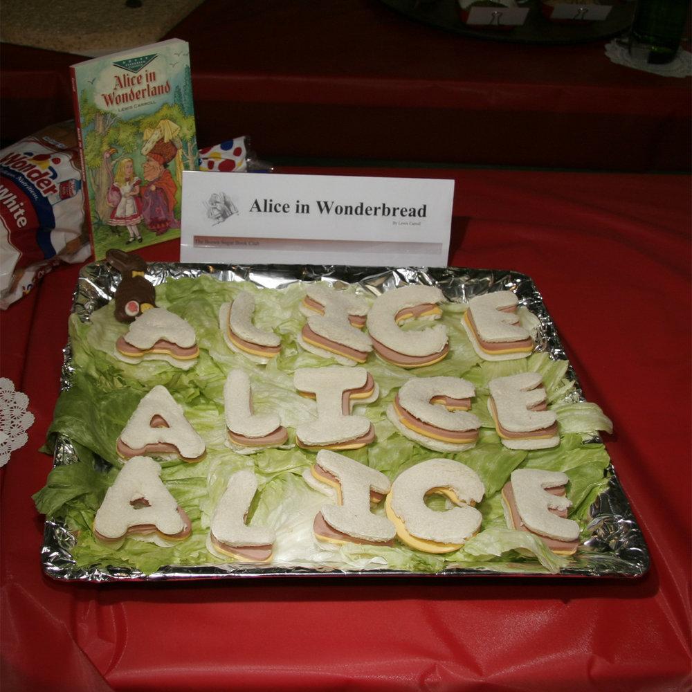 """Alice in Wonderbread"" created by: Brown Sugar Book Club, 2010 KBAC Edible Book Festival"