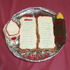 """""""Bell, Book and Candle"""" by Eve Reid; 2009 Edible Book Festival entry"""