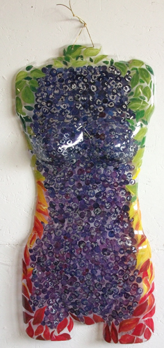 Lynn Chaloupka, Blueberry Body, Clear plastic molded torso form, Acrylic paints, silver leaf