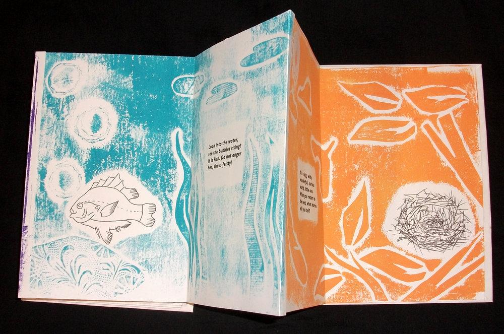 Erin Ledyard,  Baby Bird Meets Her World,  Collographs, Mixed Media, 2012, Buchanan, MI