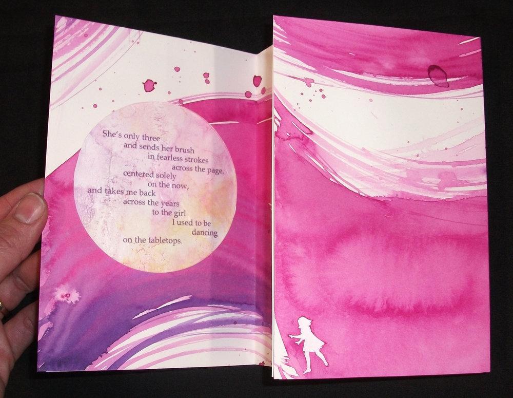 Elizabeth Sanford,  Charlotte,  Acrylic on Watercolor paper, archival inkjet on angel hair paper, thread, 2012, Nashville, TN