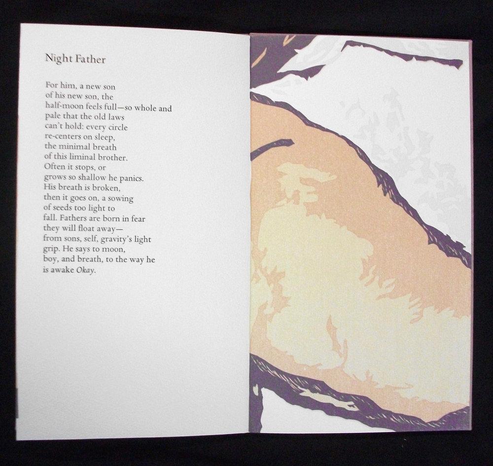 Amy Pirkle,  Gravity's Light Grip,  Letterpress and Reduction Linocut, 2007, Tuscaloosa, AL