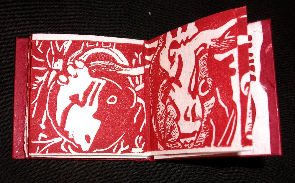 April Foster,  Heartlets,  Relief and Letterpress, case bound ox plow accordion, 2012, Cincinnati, OH