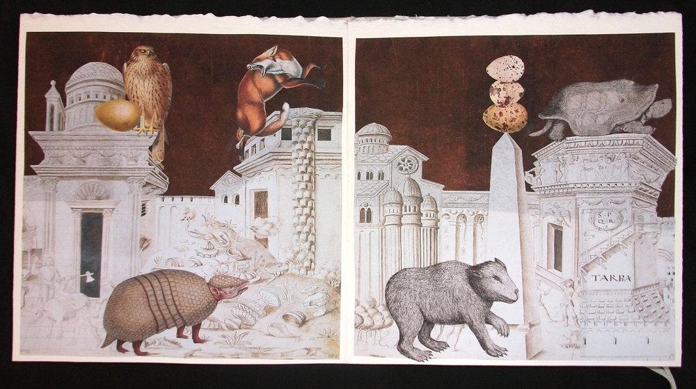 Lynn Skordal,  La Cite Des Animaux,  OOAK Collaged artist Book, 2011, Mercer Island, WA