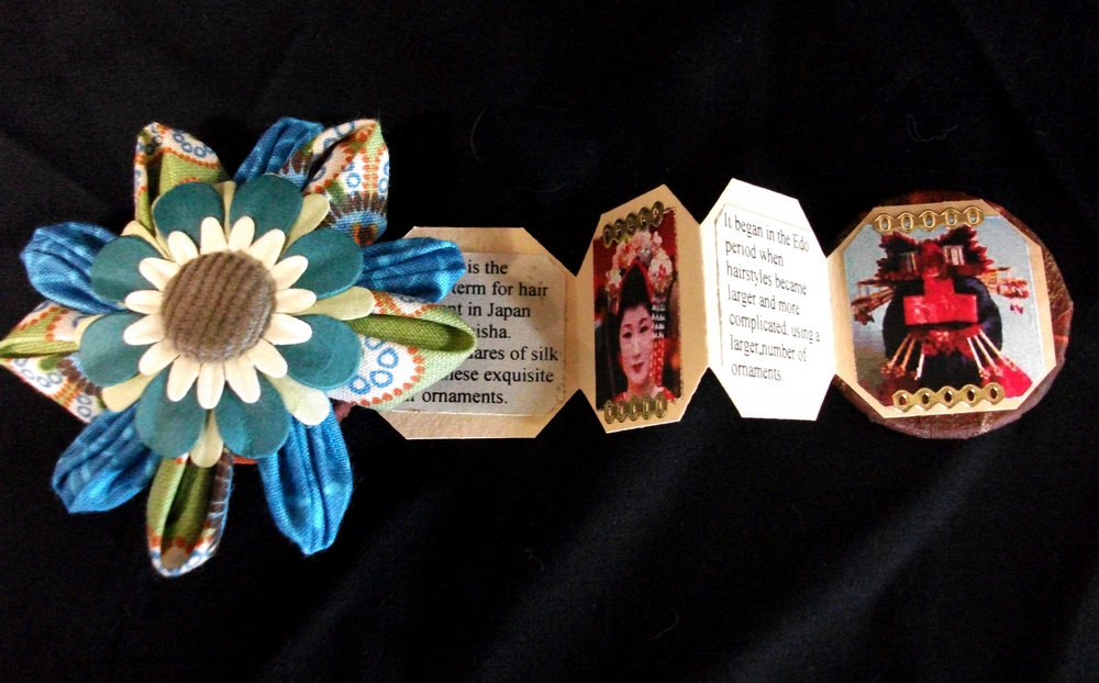 Maryann Riker,   Miniature History of Kanzashi,  Fabric, Paper, Foil, Plastic, Wood, 2011, Phillipsburg, NJ