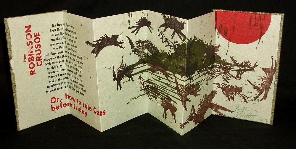 KatiePlatte,  Robinson Cursoe's Cats,  Handmade Paper, Letterpress, Woodcuts, 2012, $50