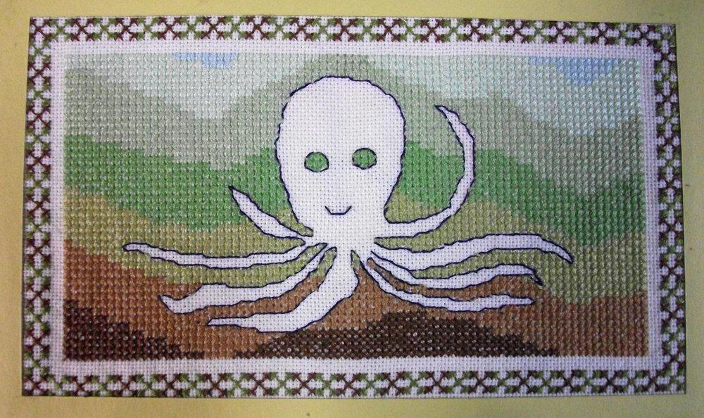 Garland Lewis,  Sea Creatures,  Embroidered Accordion Book, 2011, Ann Arbor, MI