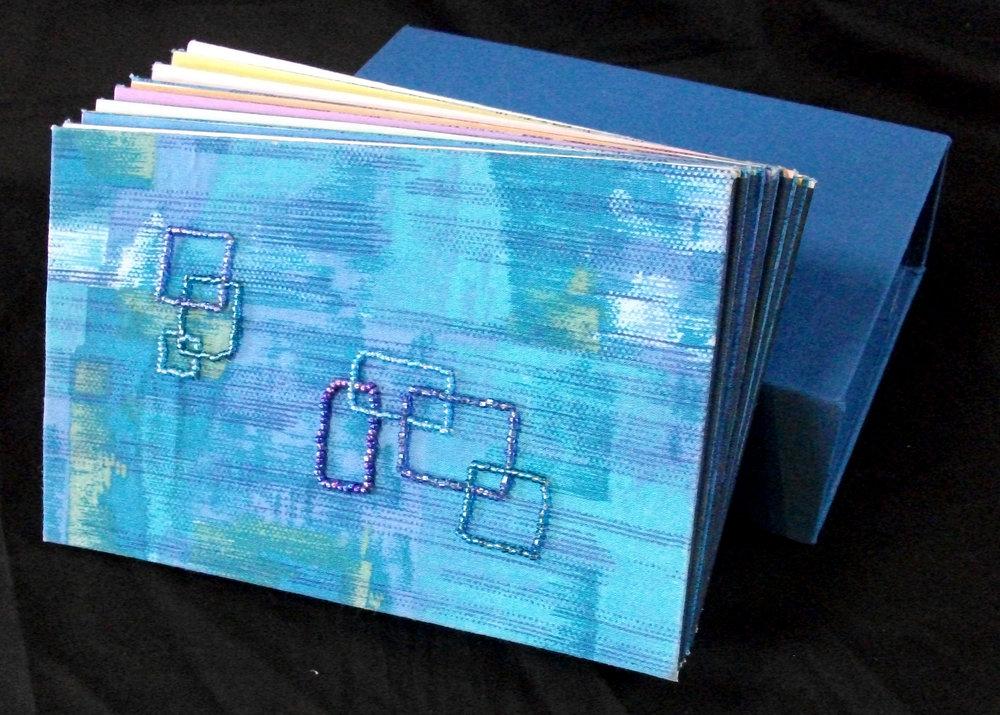 GarlandLewis,  Sea Creatures,  Embroidered Accordion Book, 2011, Ann Arbor, MI