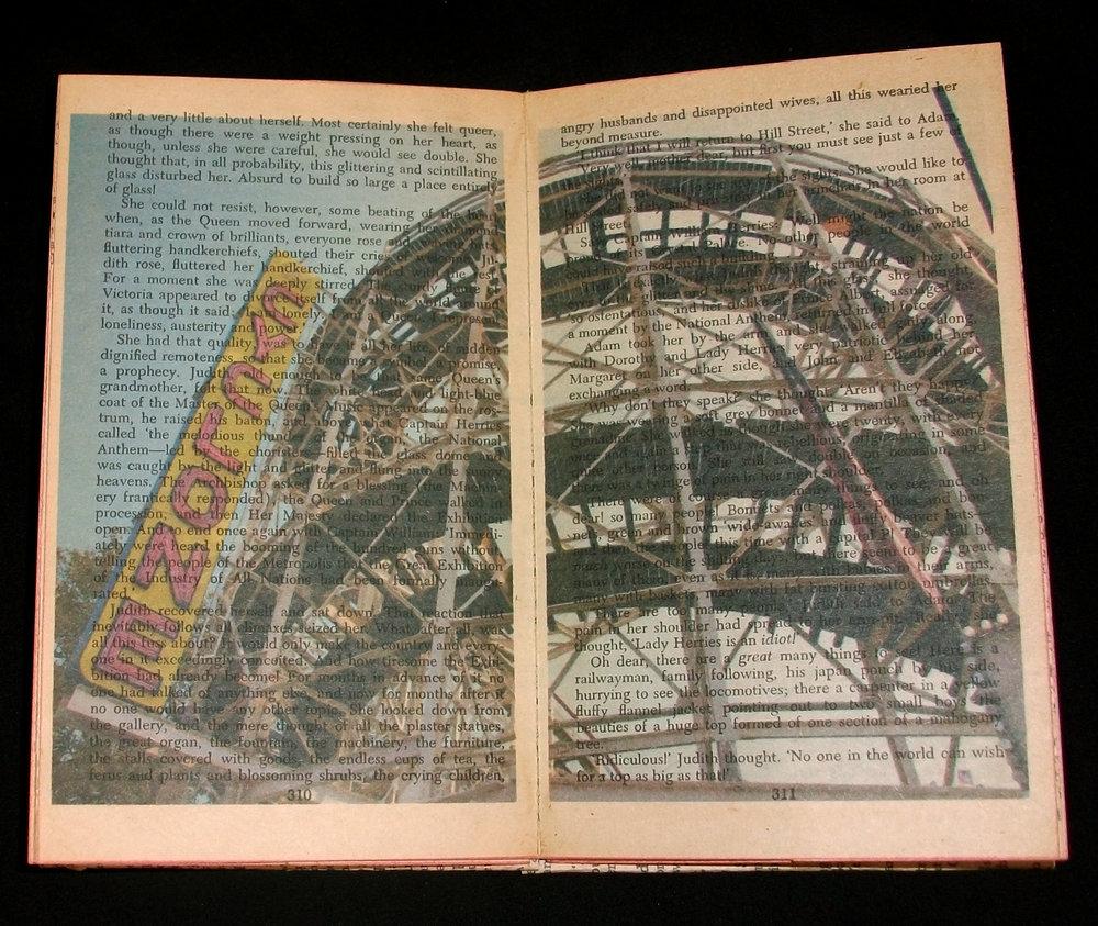 Marlene Seidman,  The Shadow Against the Sky,  inkjet on paper, back romance novel, 2012, Savannah, GA