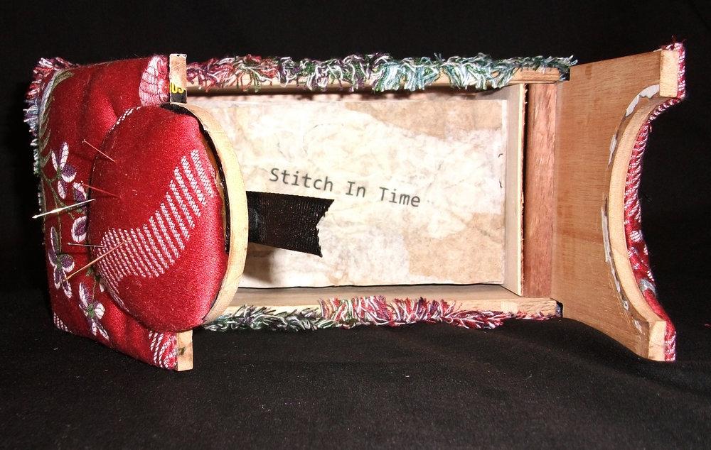 Lynn Pattison,  A Stitch in Time,  fabric, Wood, Paper, 2012, Kalamazoo, MI