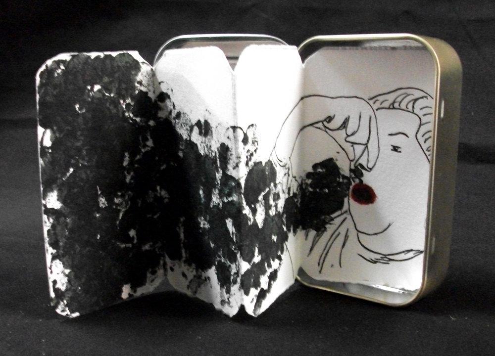 Halitophobia, Alyssa Strackbein, Pen, Watercolor ink, Altoid monotypes, Virginia, 2011, $35