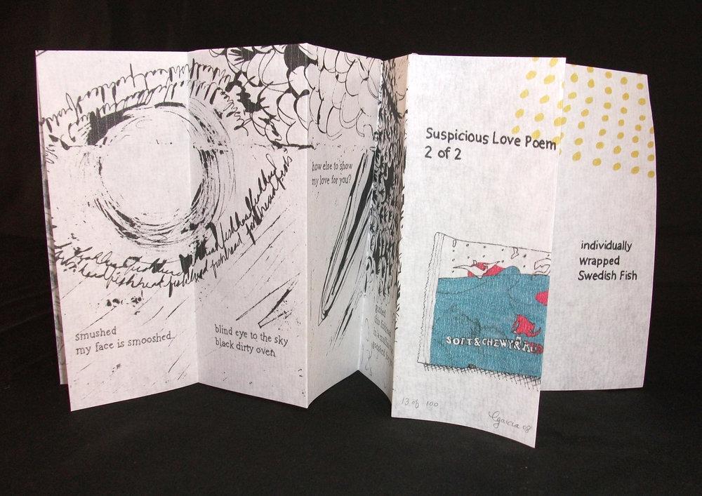 Caroline Garcia, Suspicious Love Poems 1&2, Inkjet, $15