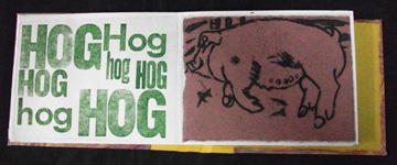 David B. Johnson, Pigs, Hogs and Swine, Intaglio, Chine colle, Letterpress, Paste Paper, 2009