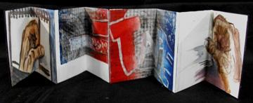 Jill Sluka, Fasten Together to make Better, Museum board, Matte Gel Medium, Scrapbooking Tape, Monotype print, 2010