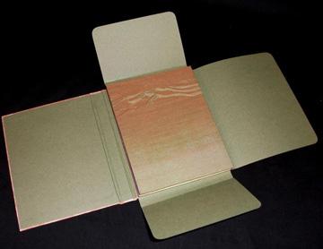 Melanie Mowinski, East Fork: Into Dehali, Flagbook variation, pressure prints, book cloth, tyvek, hard slip case, 2008