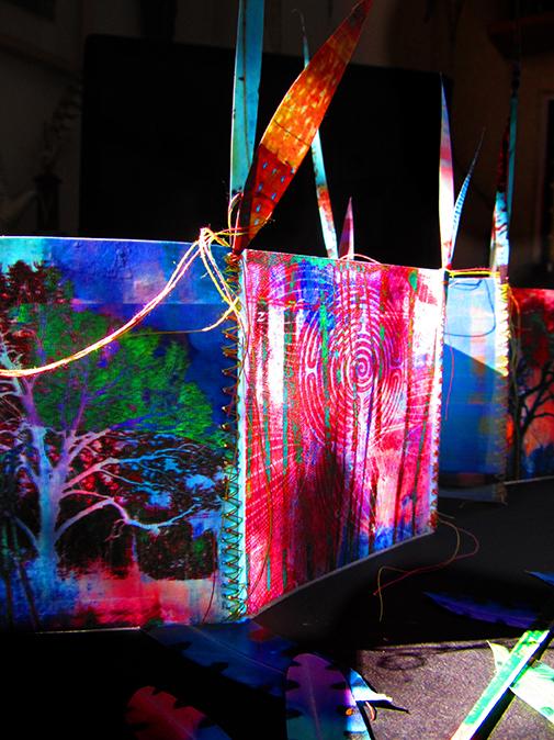 ElizabethKing, The Beginning of Illumination, Encaustic Prints, Thread, Copper Wire, 2014, Kalamazoo, MI