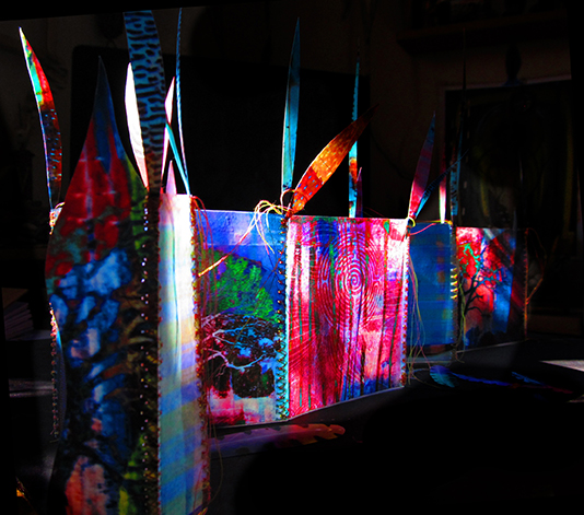 Elizabeth King, The Beginning of Illumination, Encaustic Prints, Thread, Copper Wire, 2014, Kalamazoo, MI