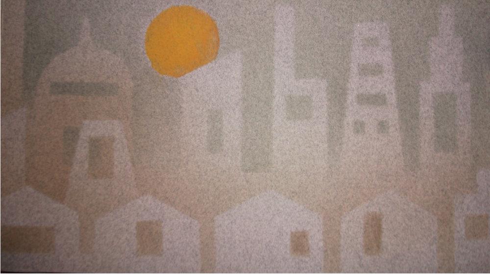 "Linda Gardiner, ""Urban Sprawl,"" Cave Paper, Strathmore, stencils, Akua Ink, 2014, Traverse City, MI"