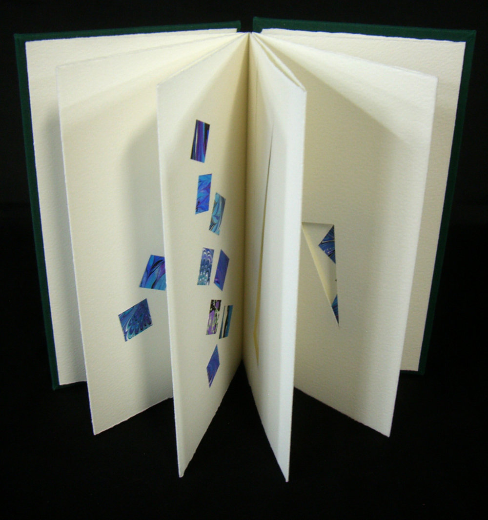 "Elizabeth Teviotdale, ""Spolia,"" Accordion book (paper, boards, bookcloth) with applied hand-marbled paper, 2014, Kalamazoo, MI"