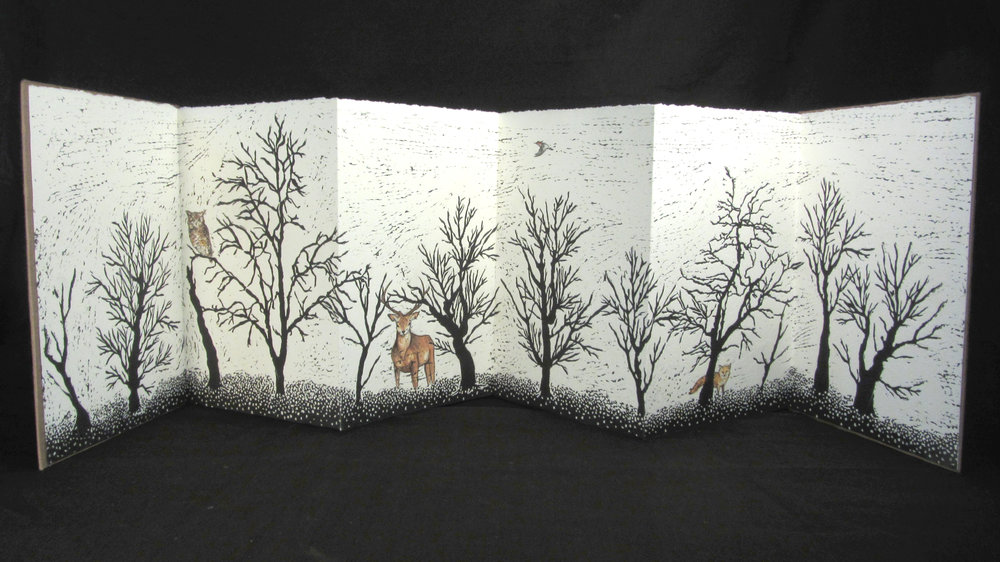 "Bridget Ruff, ""Winter,"" Accordion book, linoleum cut, watercolor, 2013"
