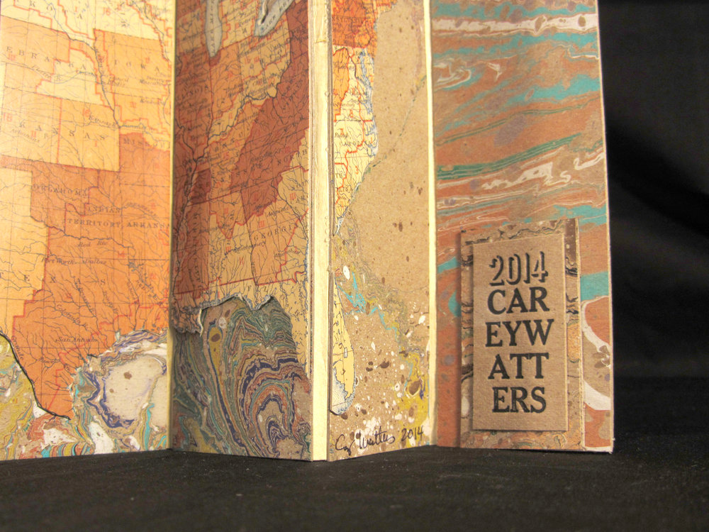 "Carey Watters, ""1850 Census,"" Found Paper, Letterpress, Marbled Paper, 2014, Milwaukee, WI"
