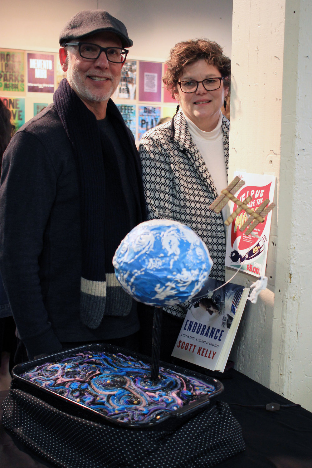 """Edible Book Adult Winners Lindy and Bill Rose and their entry """"Endurance""""."""