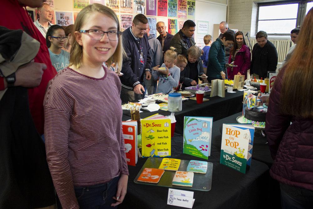 """Children's Winner Christina Scheid and her book """"Dr. Seuss Medley""""."""