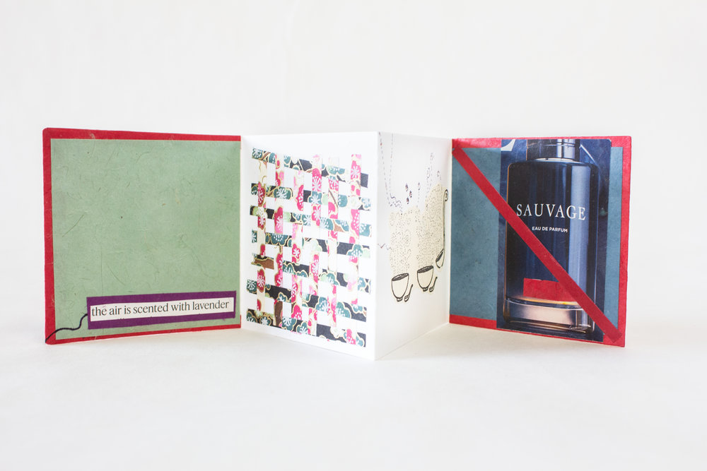 "Laurel Rogers, Passionato Books, ""The Five Senses,"" Mixed media: cork paper, collected design papers, 2018, $120, Northampton, MA"