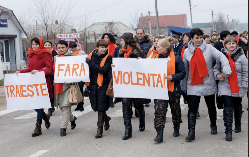 Women positive champions: survivors of violence and supporters demonstrating in Moldova. Source: UN Women used with permission.