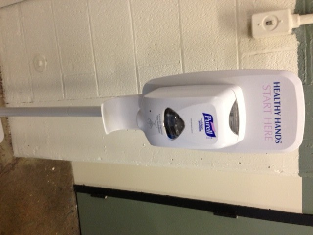 You'll find these hand sanitizer stations throughout the building