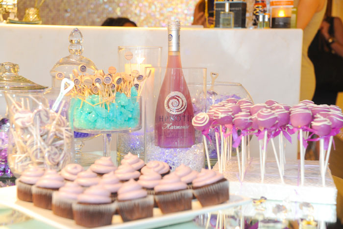 A lavender candy bar offered cakepops, cupcakes, and rock candy. Photo: Daniel Swartz for Hpnotiq Harmonie