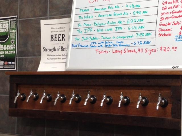 Beers on tap at Community Beer Works!