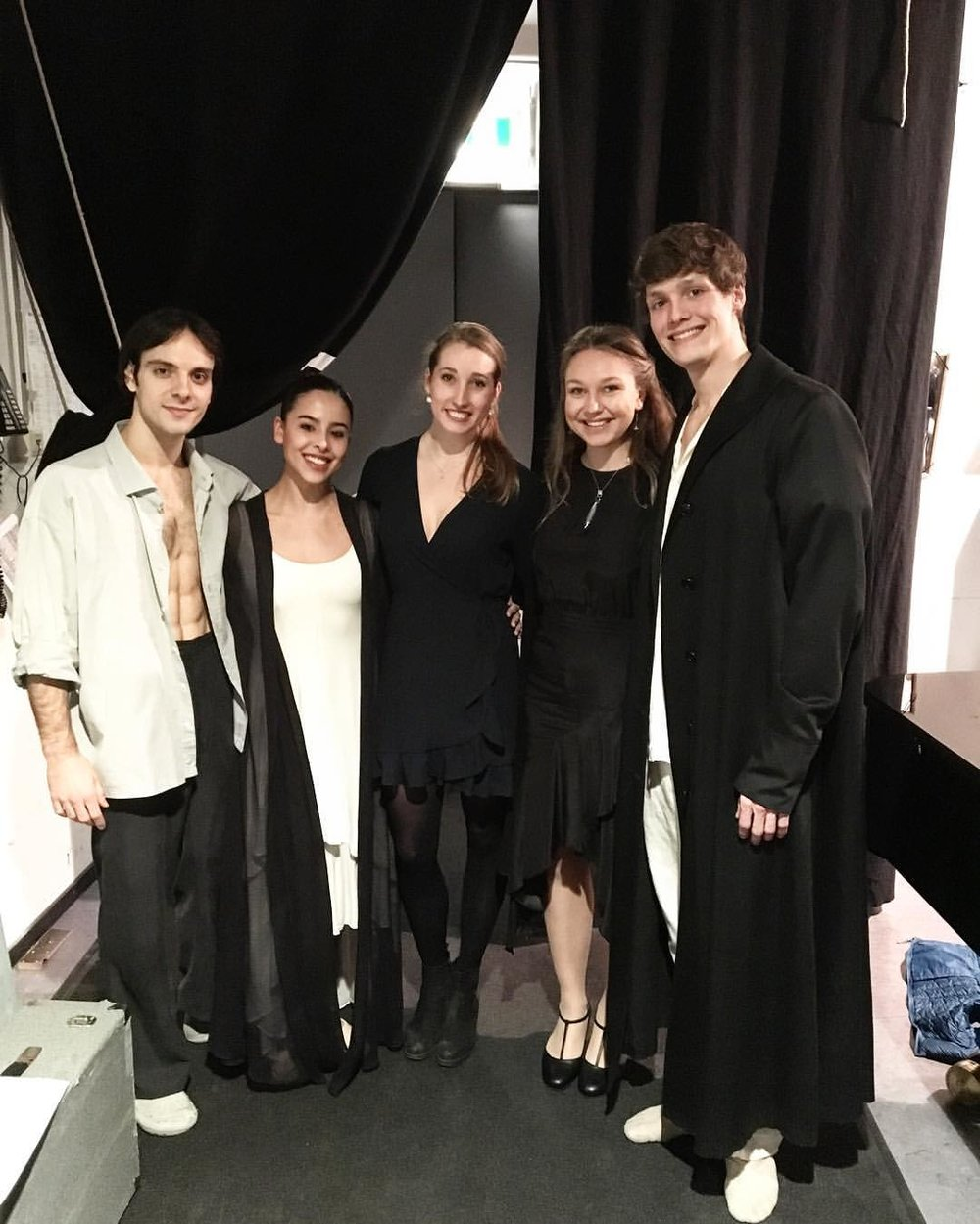 14th March 2017, following the second performance.   From the left: Nicolas Gl  ä  ssman, Winnie Dias, Hayley Page, Kirsten Milenko, Florian Pohl.