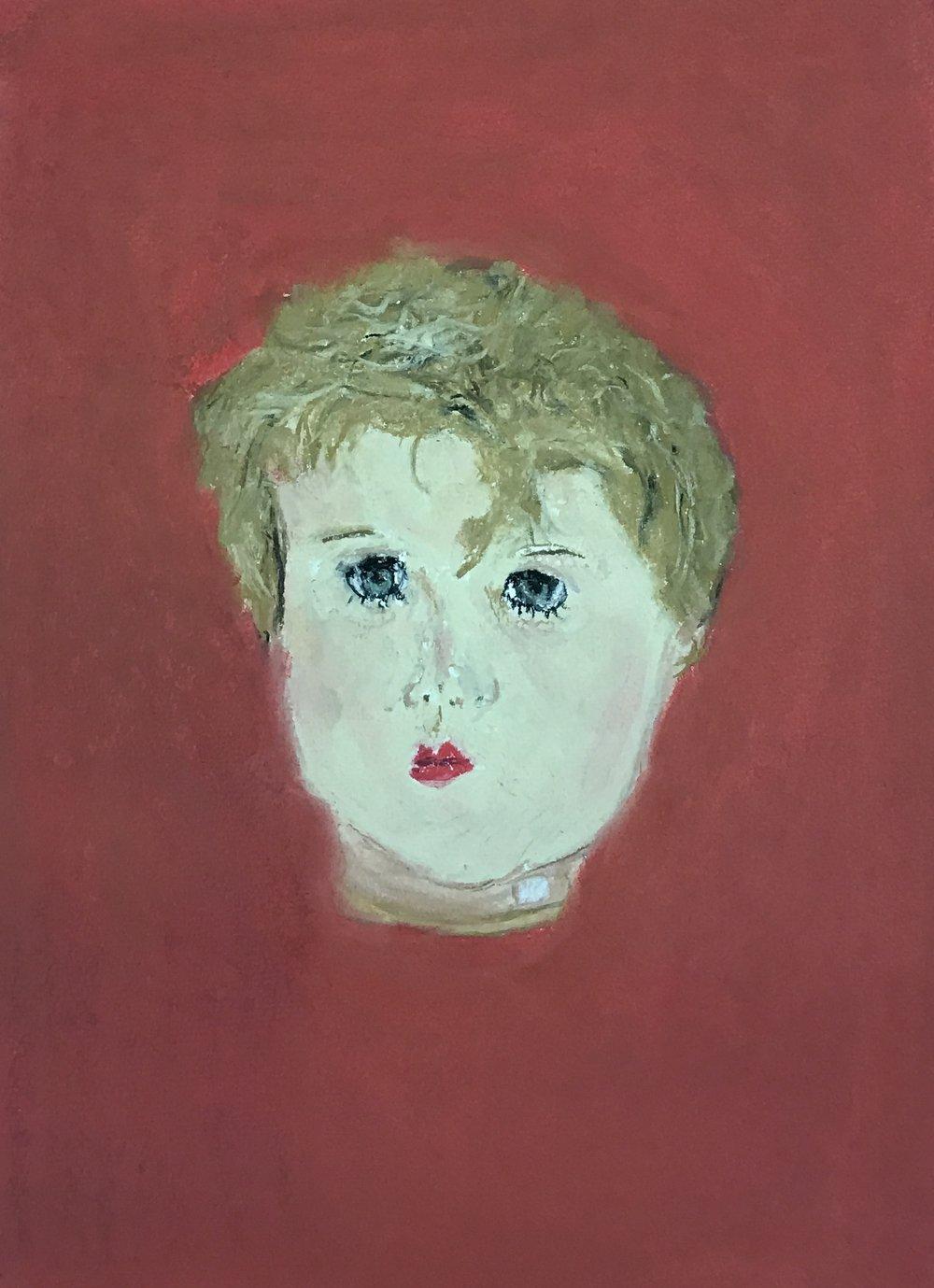 Doll's head 2, pastel, 9 x1 2, $35