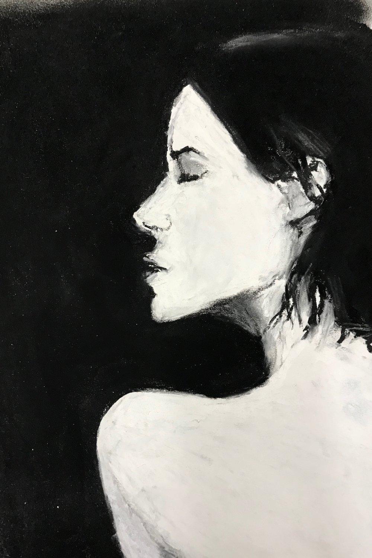 Profile,charcoal, 11 x 14, $45